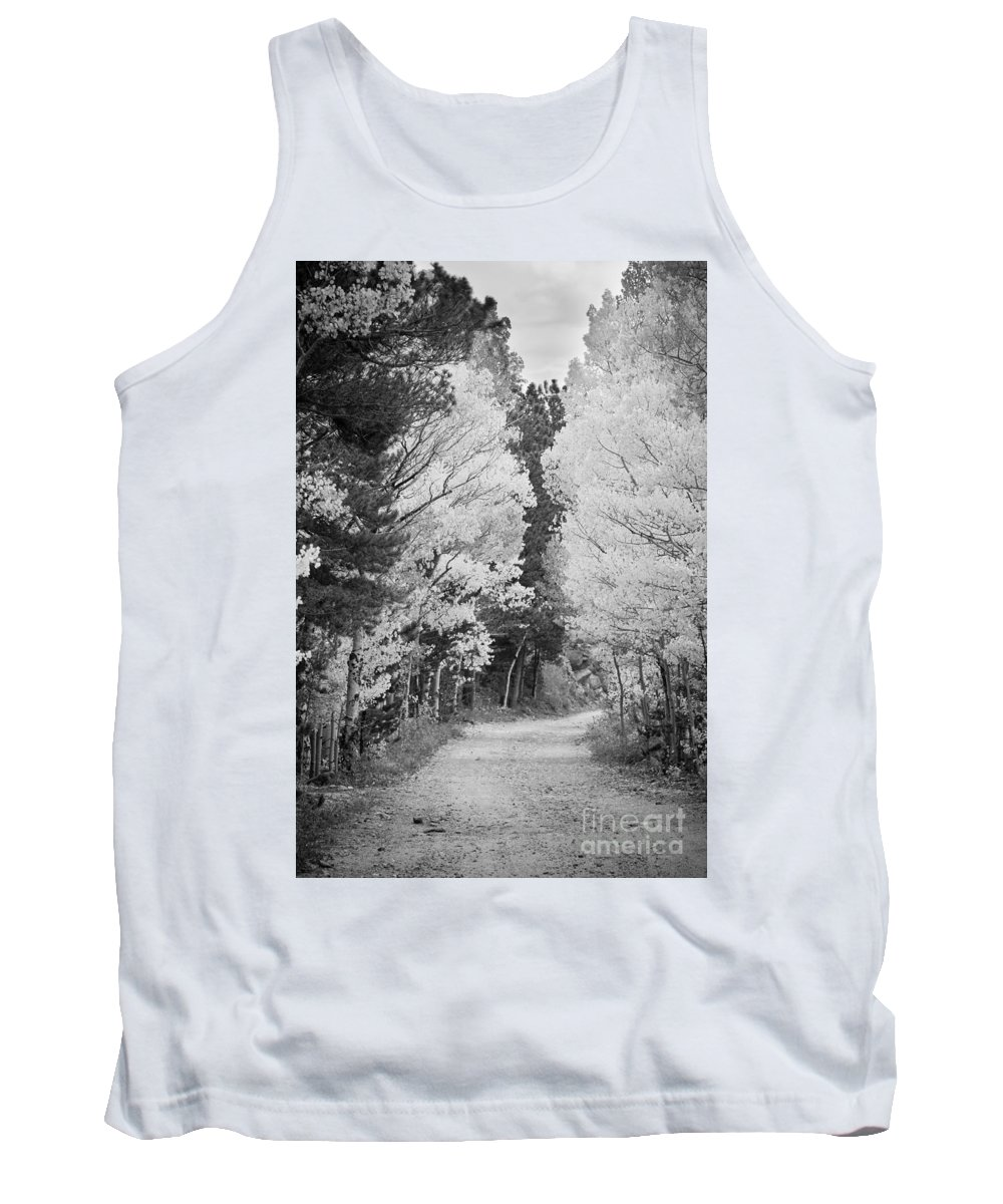Colorful Tank Top featuring the photograph Colorado Rocky Mountain Aspen Road Portrait Bw by James BO Insogna