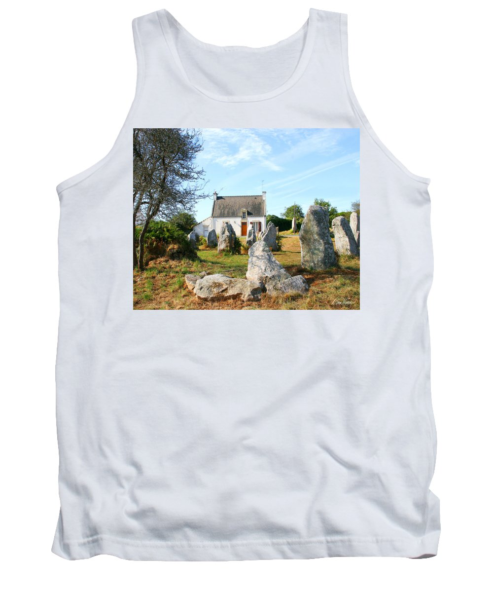 Cottage Tank Top featuring the photograph Cottage With Standing Stones by Diana Haronis