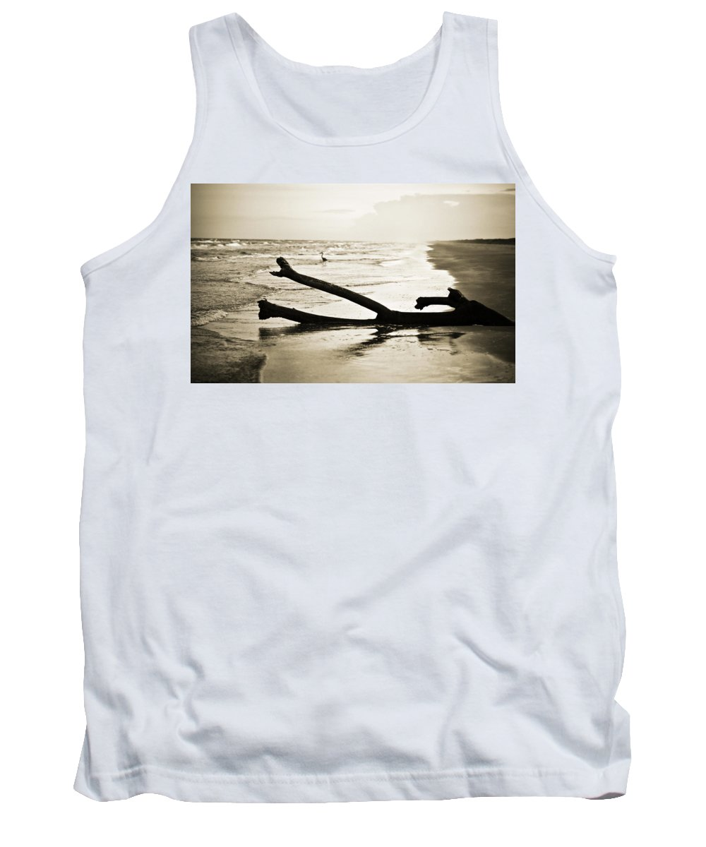 Corpus Christi Tank Top featuring the photograph Crane At Sunset by Marilyn Hunt