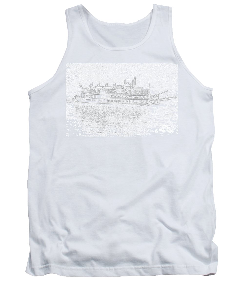 Ship Tank Top featuring the photograph Creole Queen Sketch by Jim Chamberlain