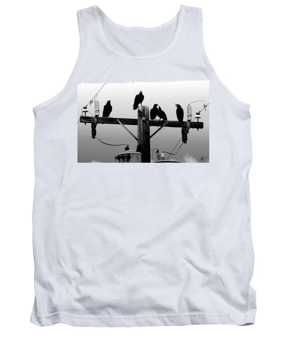 Tank Top featuring the photograph Crows And Insulators On Route 66 by Mark Valentine