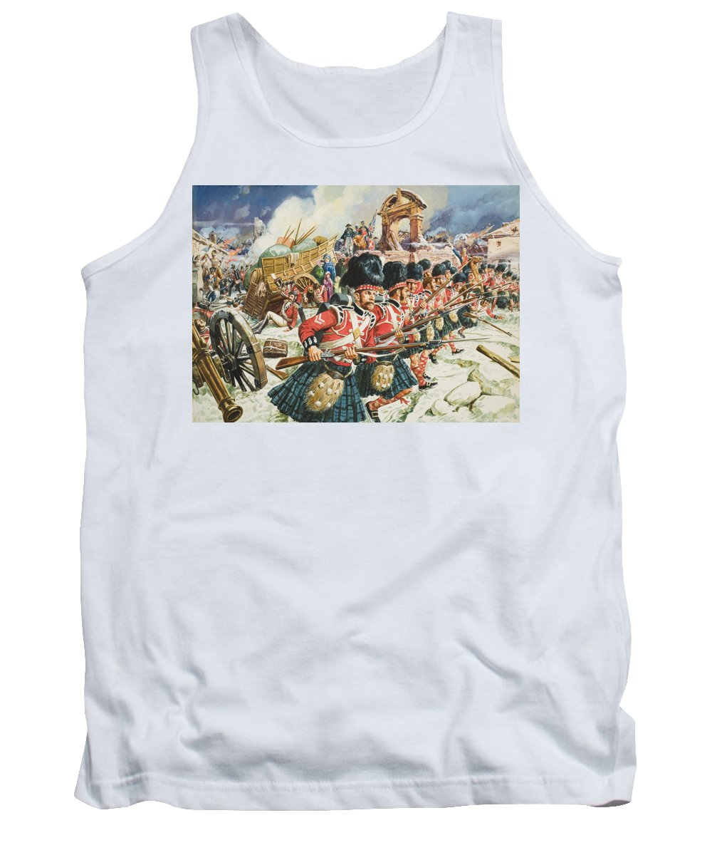 Northwest Spain; Defending; Soldier; Soldiers; Rifle; Rifles ;cannon; Church; Peninsular War; 51st Highlanders; Scottish; Military; Sir John Moore; Traditional; Costume; Dress; Uniform; Regiment; Defense; La Corogne Tank Top featuring the painting Defence Of Corunna by C L Doughty