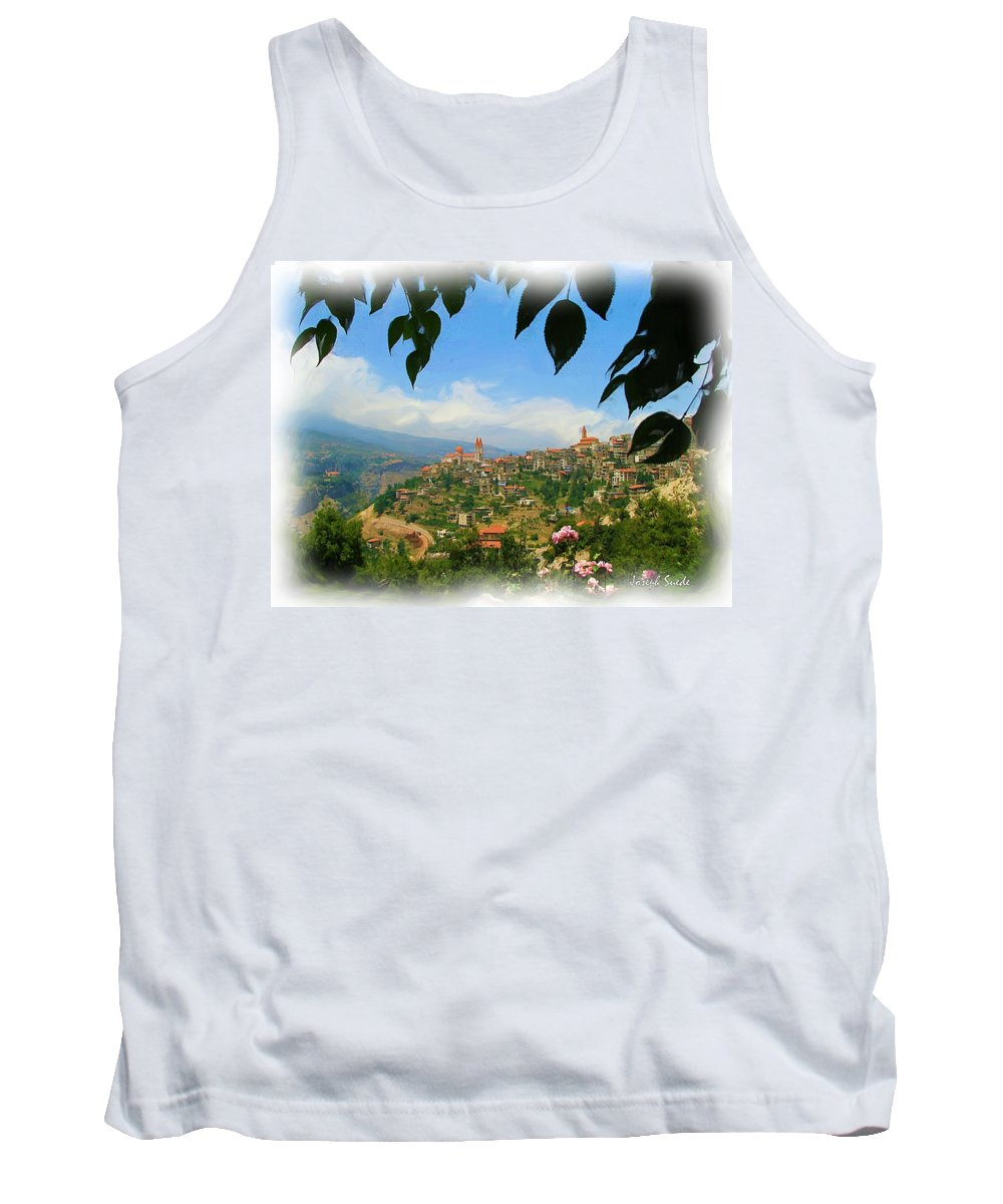Digital Paintings Tank Top featuring the photograph Do-00547 Town Of Bcharre by Digital Oil