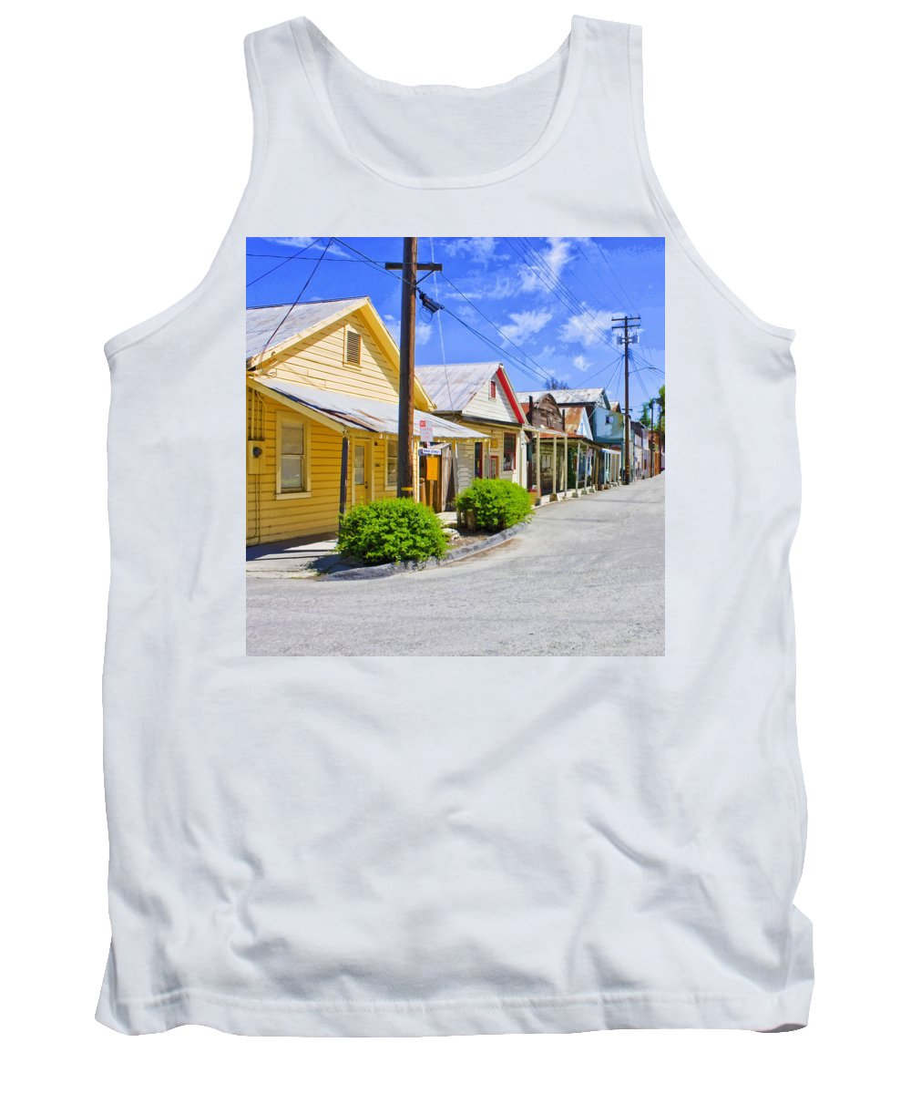Main Street Tank Top featuring the mixed media Down On Main Street by Dominic Piperata