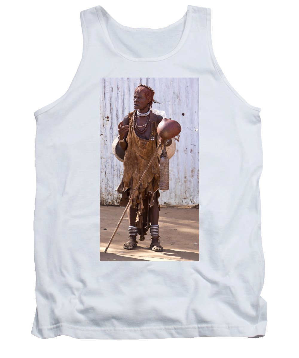 Africa Tank Top featuring the painting Ethiopia-south Market Detail A by Robert SORENSEN