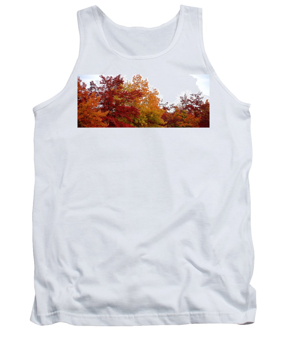 Fall Color Colors Leaf Leaves Tree Orange Red Green Chico Ca Tank Top featuring the photograph Fall Filled Sky by Holly Blunkall