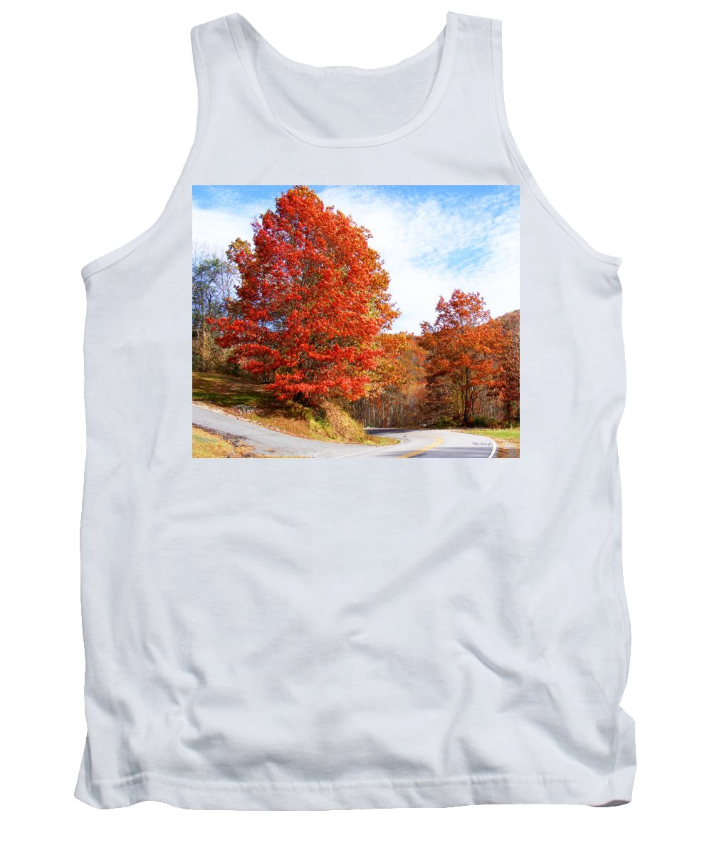 Fall Tank Top featuring the photograph Fall Tree By The Road by Duane McCullough