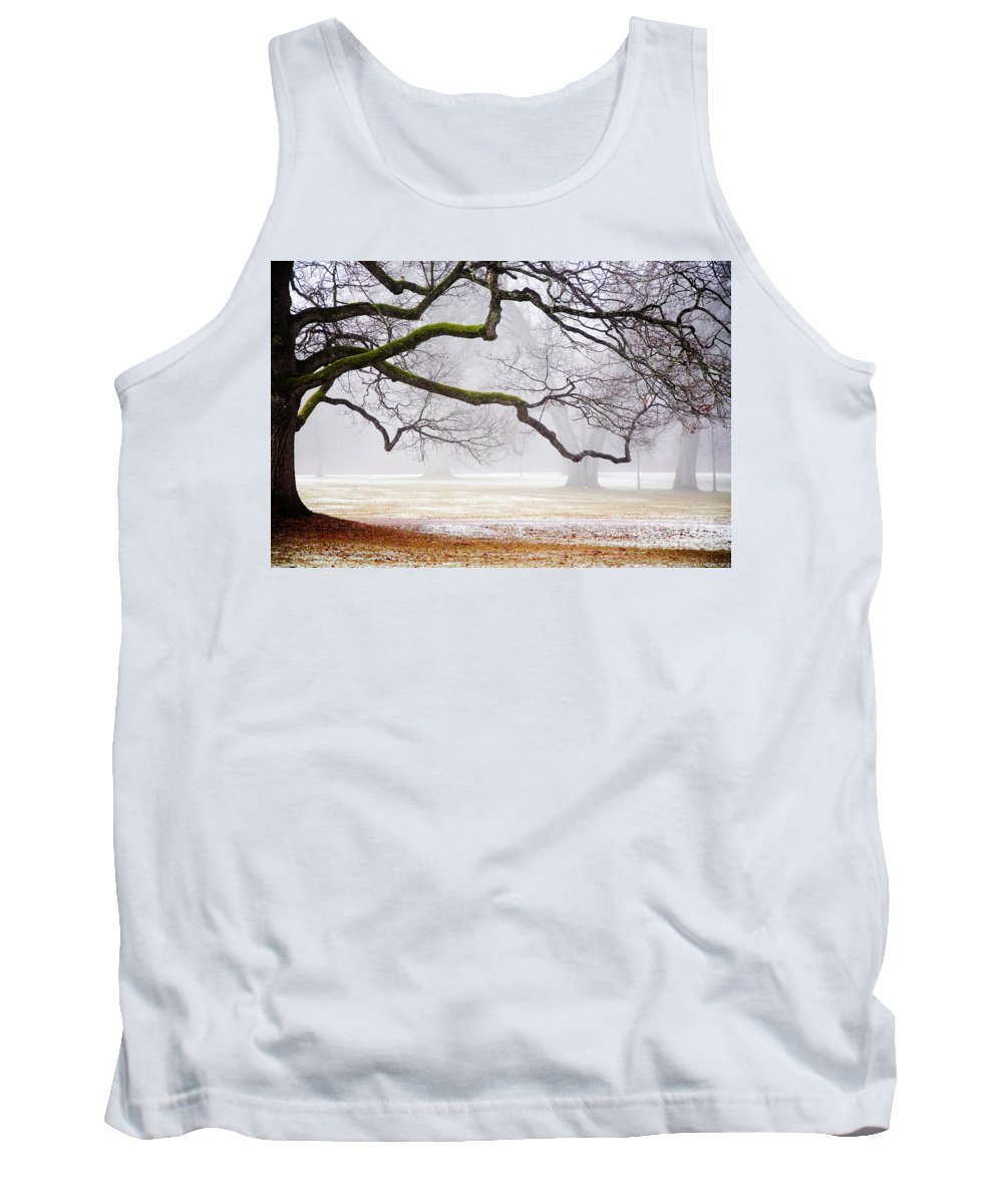 Fog Tank Top featuring the photograph Fog In The Park by Kati Finell