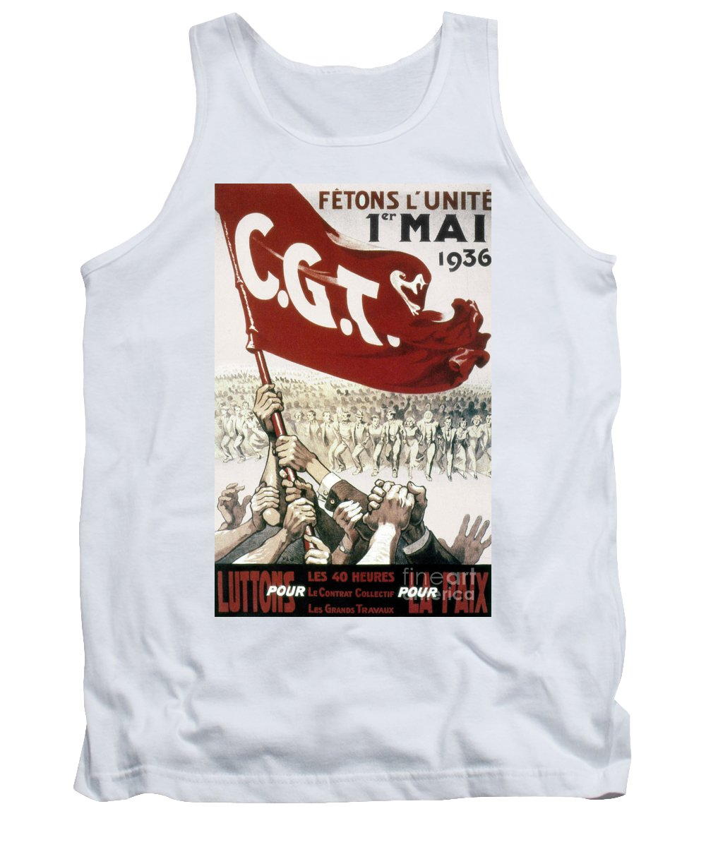Cgt Tank Top featuring the photograph France: Popular Front, 1936 by Granger