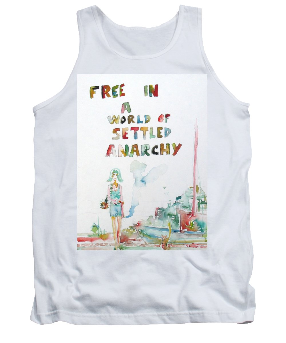Seascape Tank Top featuring the painting Free In A World Of Settled Anarchy by Fabrizio Cassetta