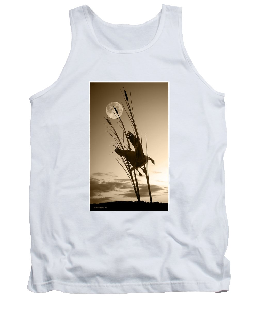 2d Tank Top featuring the photograph Goose At Dusk - Sepia by Brian Wallace
