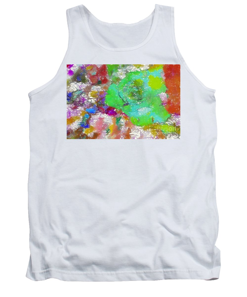 Green Rose Tank Top featuring the digital art Green Abstract Rose by Barbara Griffin