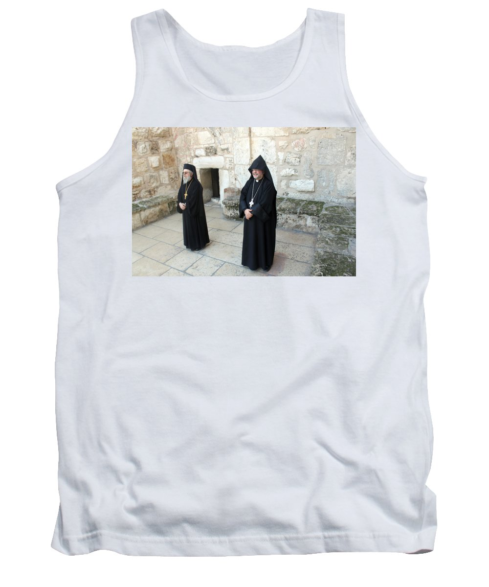 Orthodox Tank Top featuring the photograph Guarding Nativity Church by Munir Alawi