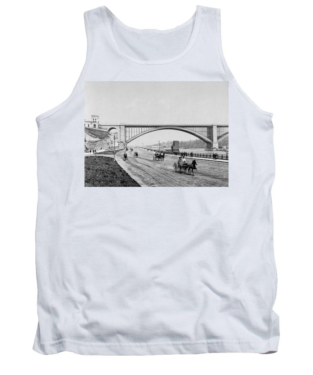 george Washington Bridge Tank Top featuring the photograph Harlem River Speedway Scene Beneath The George Washington Bridge by International Images