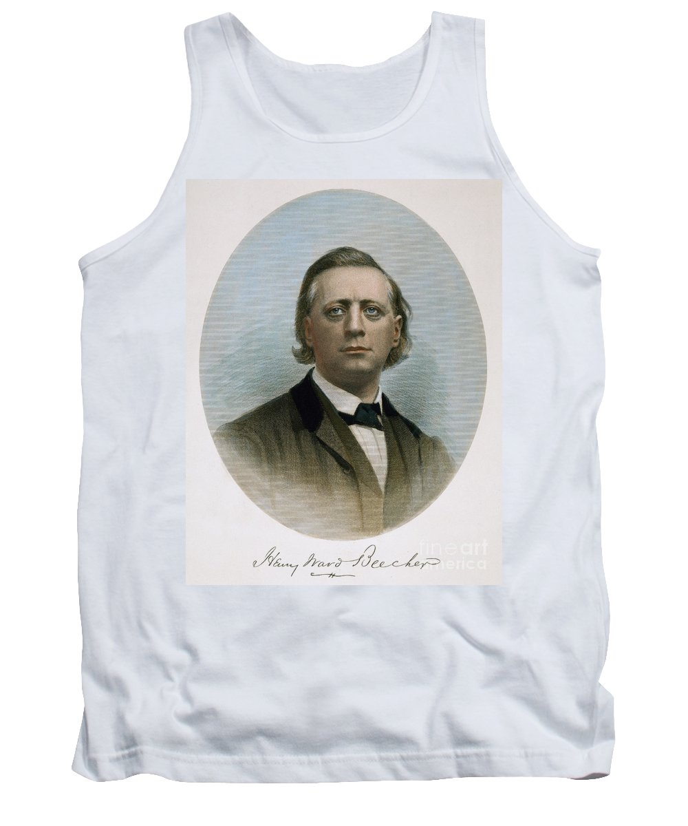 19th Century Tank Top featuring the photograph Henry Ward Beecher (1813-1887). American Clergyman. At Age 50: Steel Engraving, 19th Century by Granger