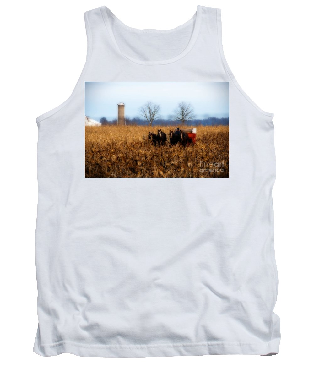 Amish Tank Top featuring the photograph In The Corn 1 by David Arment