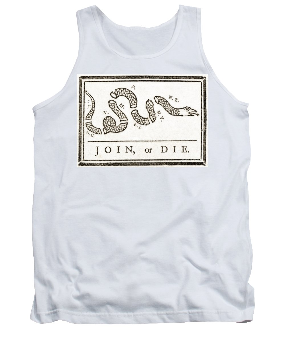 History Tank Top featuring the photograph Join Or Die French And Indian War by Photo Researchers