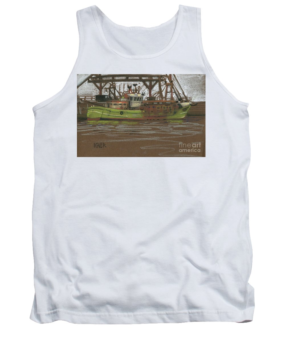 Plein Air Tank Top featuring the painting Kilmore Quay Fishing Trawler by Donald Maier