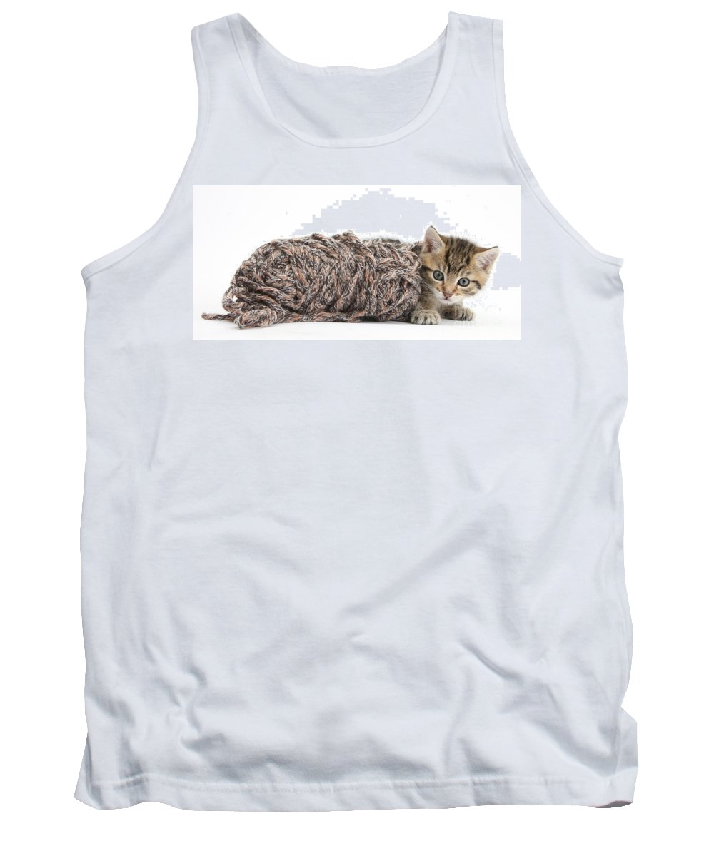 Nature Tank Top featuring the photograph Kitten With Yarn by Mark Taylor