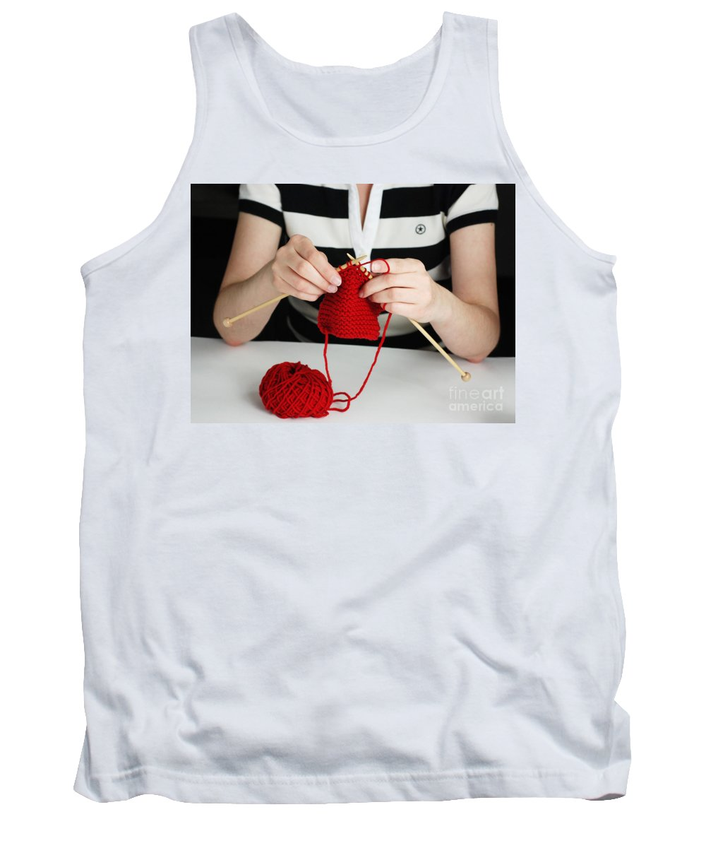 Knitting Tank Top featuring the photograph Knitting by Photo Researchers, Inc.