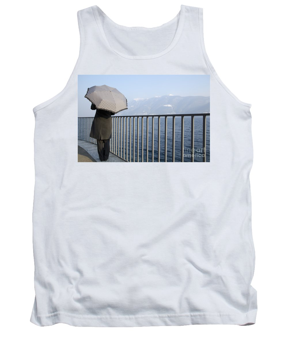 Woman Tank Top featuring the photograph Lakefront With A Umbrella by Mats Silvan