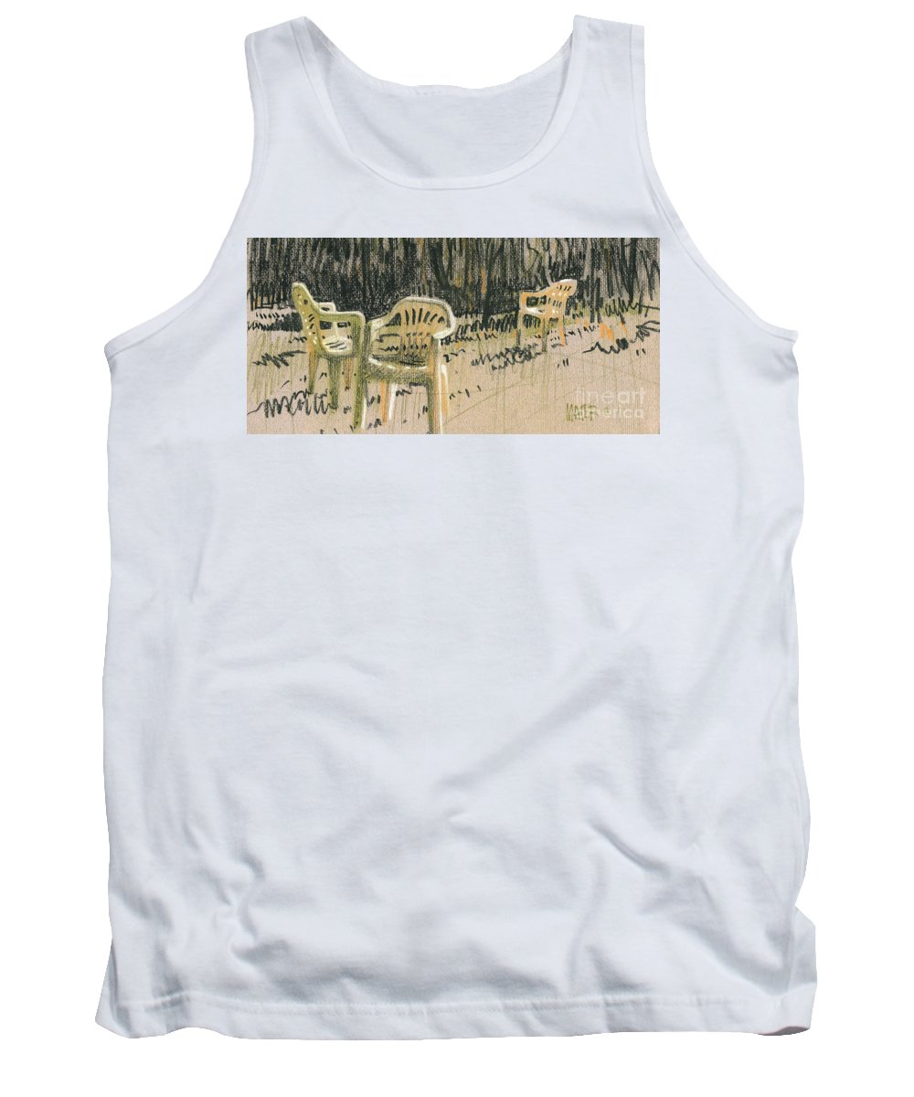 Plastic Tank Top featuring the drawing Lawn Chairs by Donald Maier
