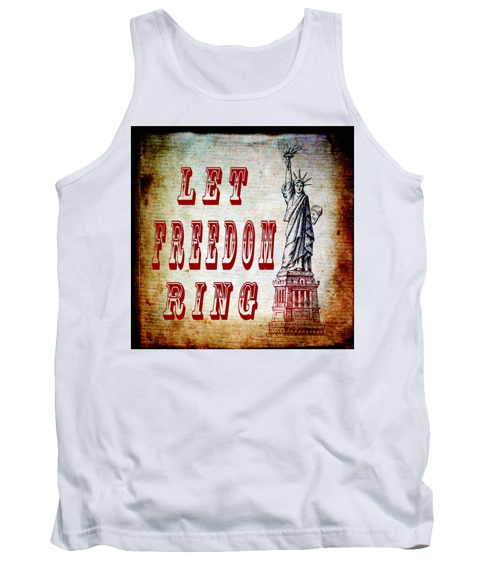 Texture Tank Top featuring the mixed media Let Freedom Ring by Angelina Vick