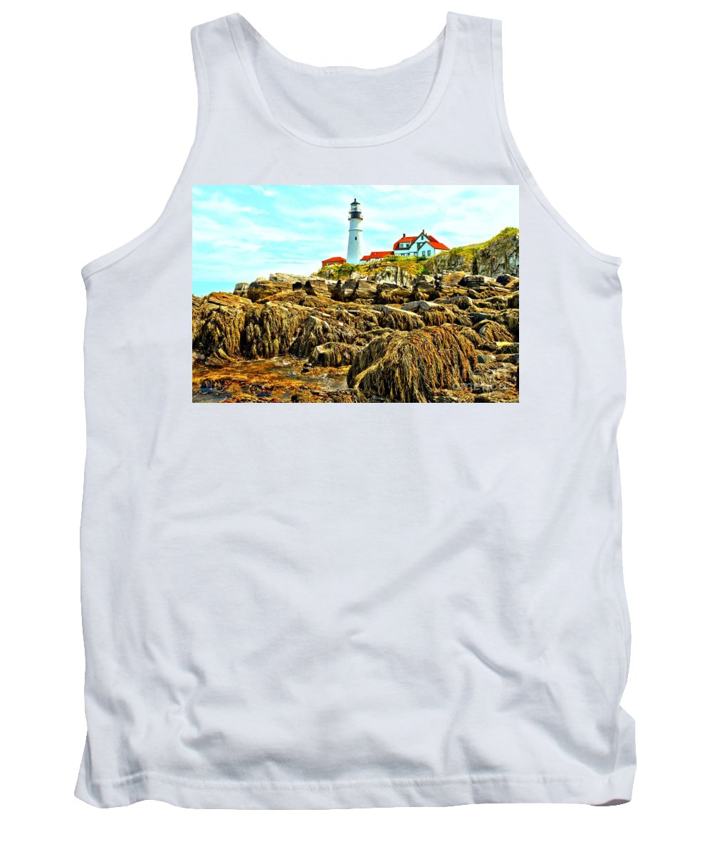 Portland Lighthouse Tank Top featuring the photograph Light Over The Rocks by Adam Jewell