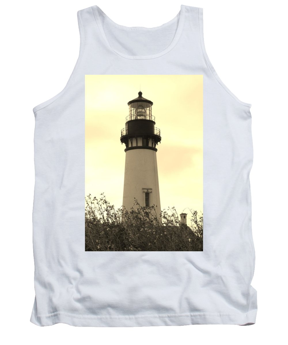 Yaquina Bay Lighthouse Tank Top featuring the photograph Lighthouse Tranquility by Athena Mckinzie