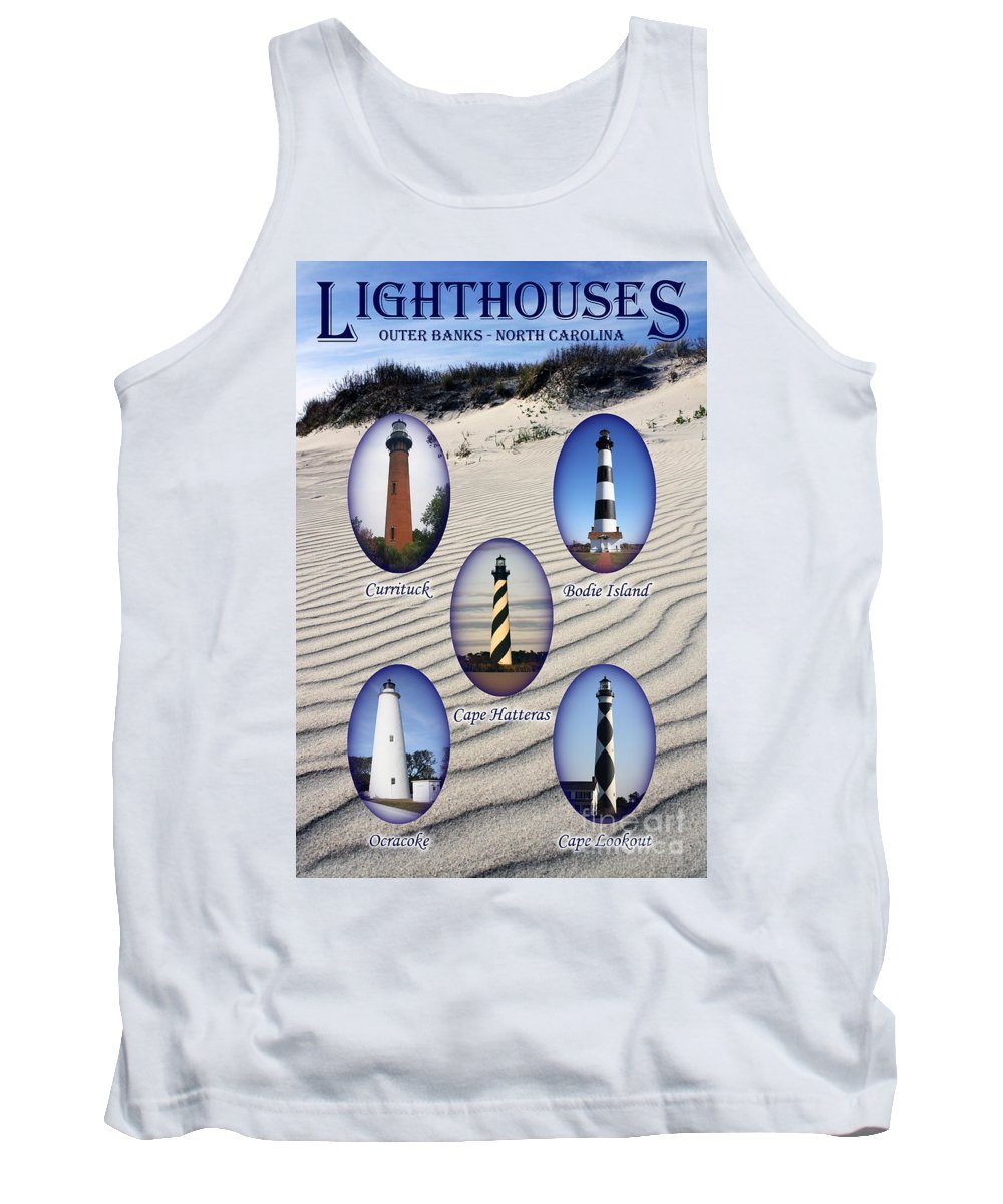 Lighthouse Tank Top featuring the photograph Lighthouses Of The Outer Banks by Tony Cooper