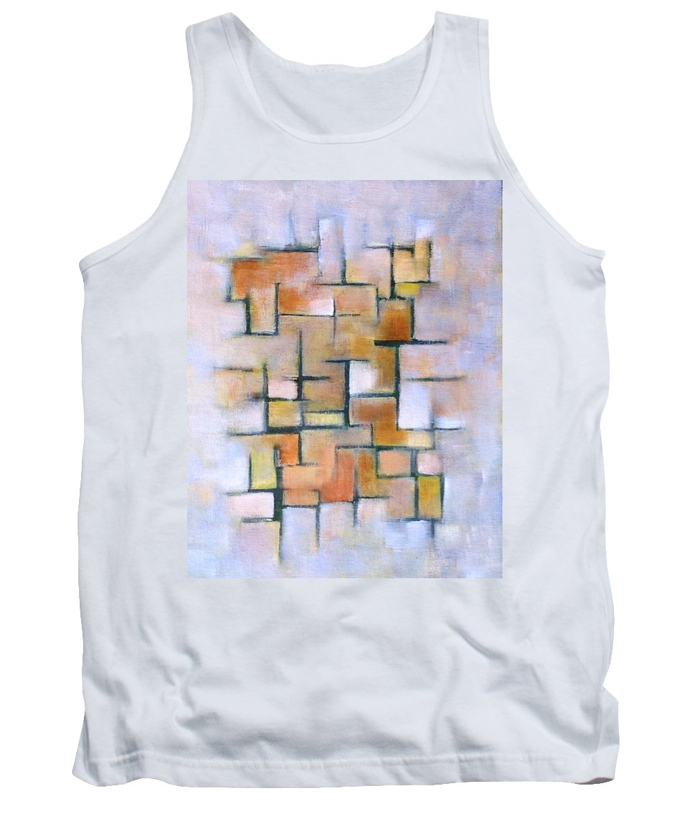 Gold Tank Top featuring the painting Line Series by Patricia Cleasby