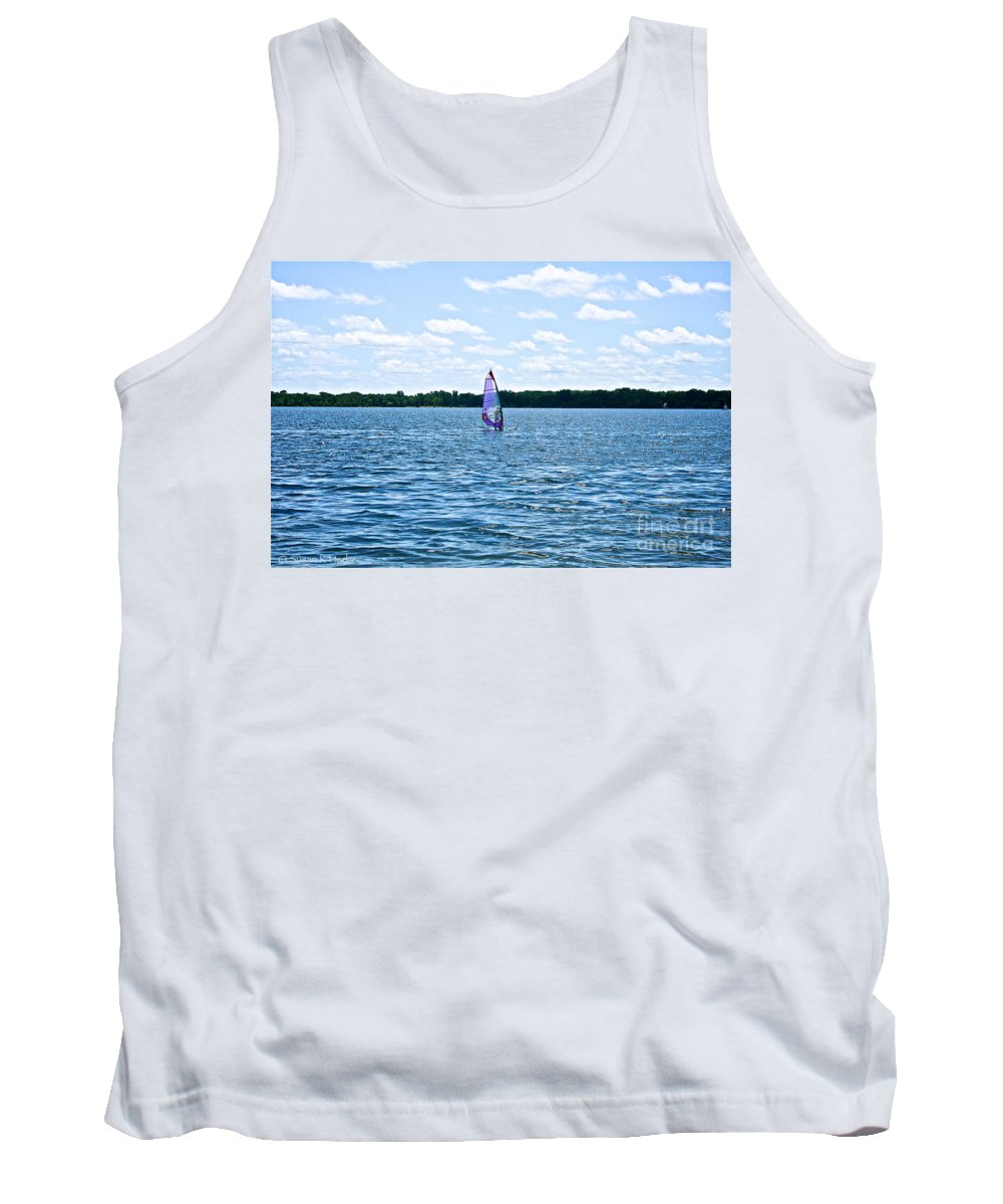 Minnesota Tank Top featuring the photograph Lone Wind Surfer by Susan Herber