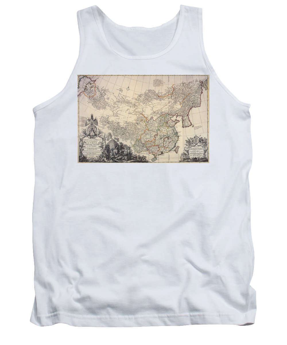 World Tank Top featuring the photograph Map Of China, 1734 by Photo Researchers