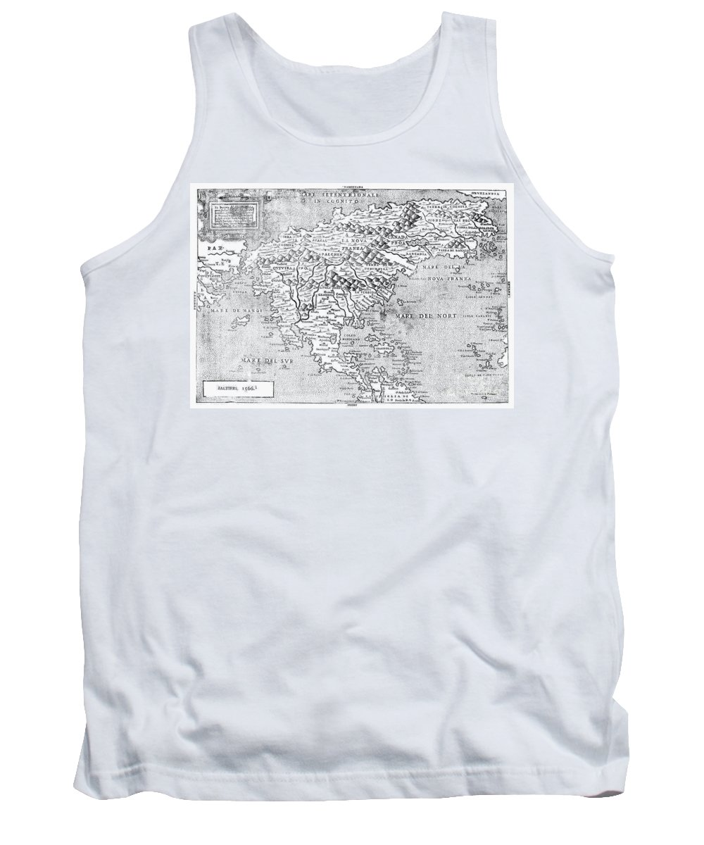1566 Tank Top featuring the photograph Map Of New France, 1566 by Granger