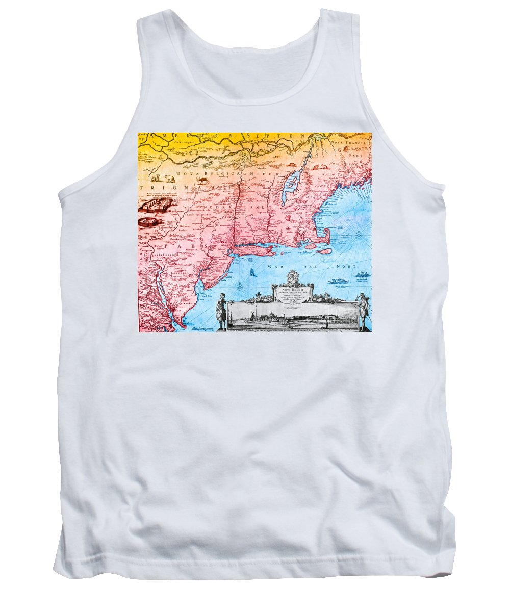 Maps Tank Top featuring the photograph Map Of New Netherland, 1650s by Photo Researchers