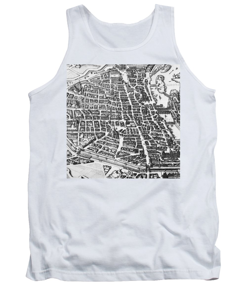 Maps Tank Top featuring the drawing Map Of Paris by German School