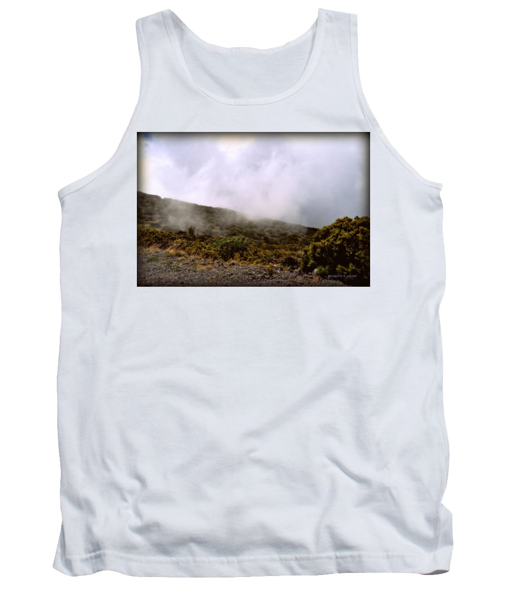 Nature Tank Top featuring the photograph Misty Hills by Paulette B Wright