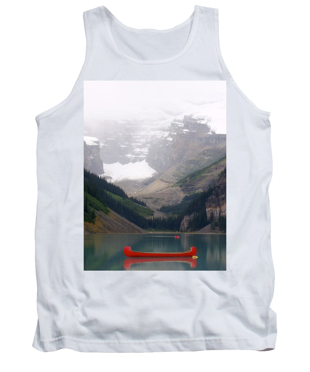 Canoe Tank Top featuring the photograph Misty Paddle - Lake Louise, Alberta by Ian Mcadie