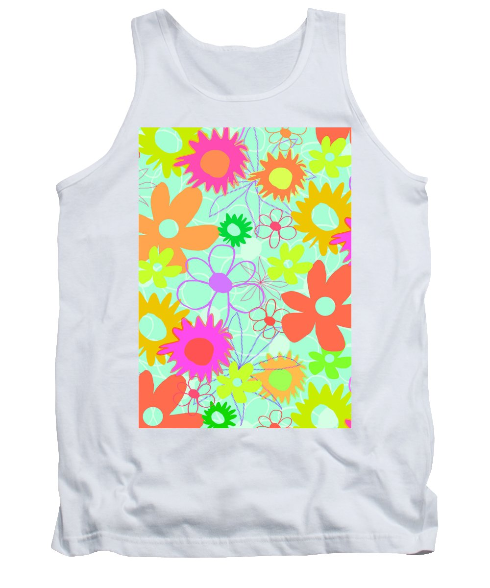 Louisa Tank Top featuring the digital art Mixed Flowers by Louisa Knight