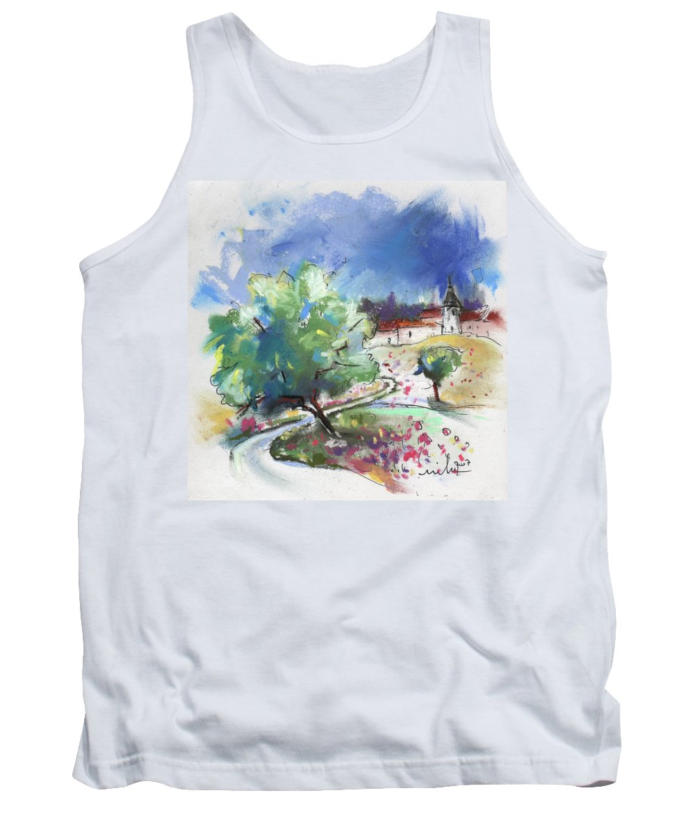 France Tank Top featuring the painting Monpazier In France 04 by Miki De Goodaboom