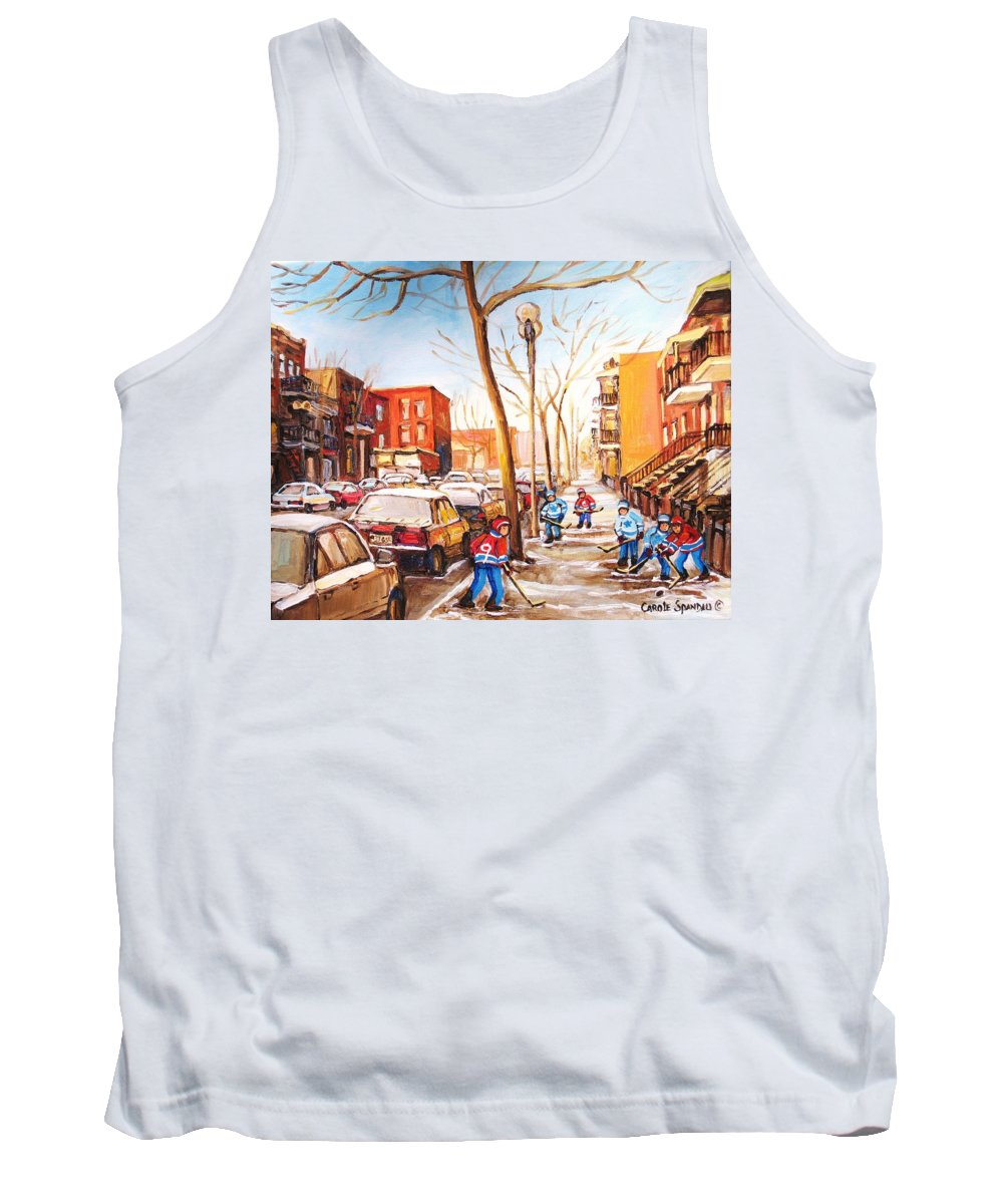 Montreal Street Scene With Boys Playing Hockey Tank Top featuring the painting Montreal Street With Six Boys Playing Hockey by Carole Spandau