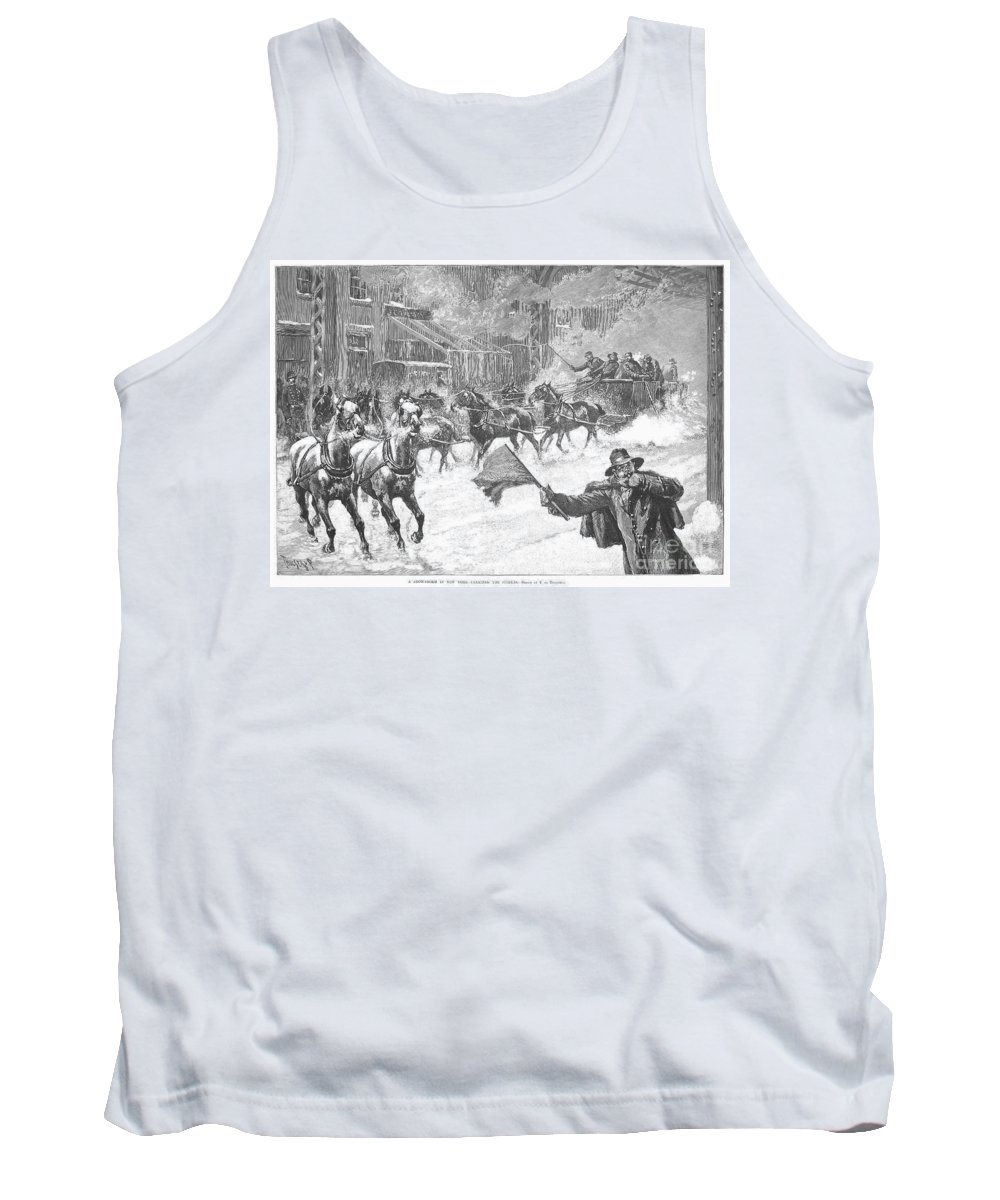 1887 Tank Top featuring the photograph New York: Snowstorm, 1887 by Granger