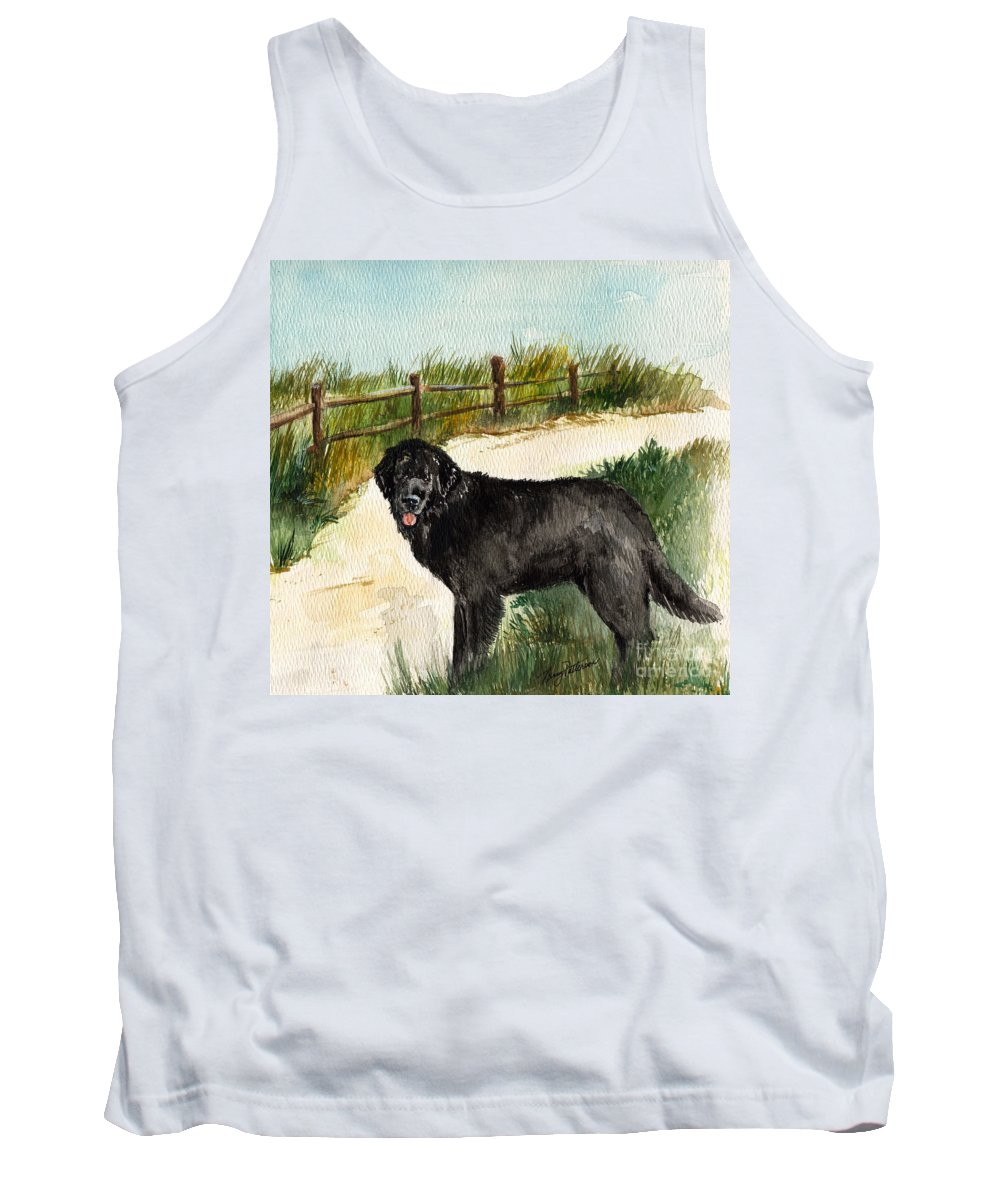 Newfoundland Dog Tank Top featuring the painting Newfie by Nancy Patterson
