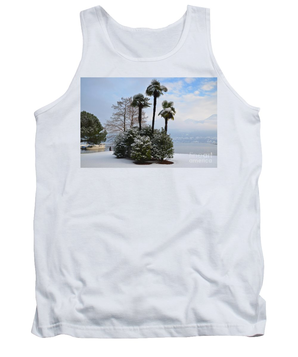 Palm Tank Top featuring the photograph Palm Trees With Snow by Mats Silvan