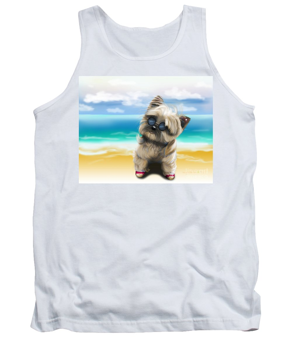 Petey Tank Top featuring the mixed media Petey In Coney Island by Catia Lee