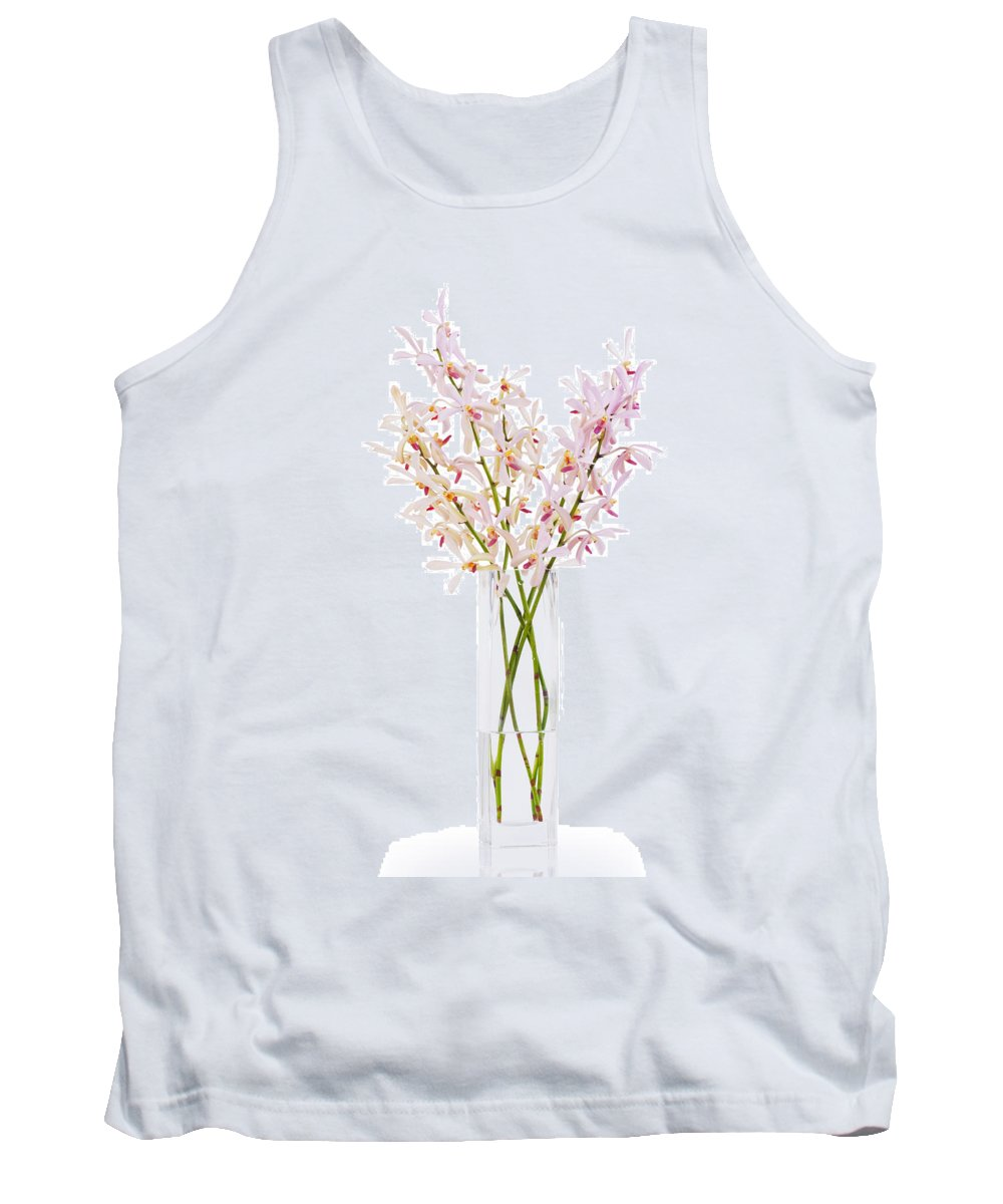 Asian Tank Top featuring the photograph Pink Orchid In Vase by Atiketta Sangasaeng