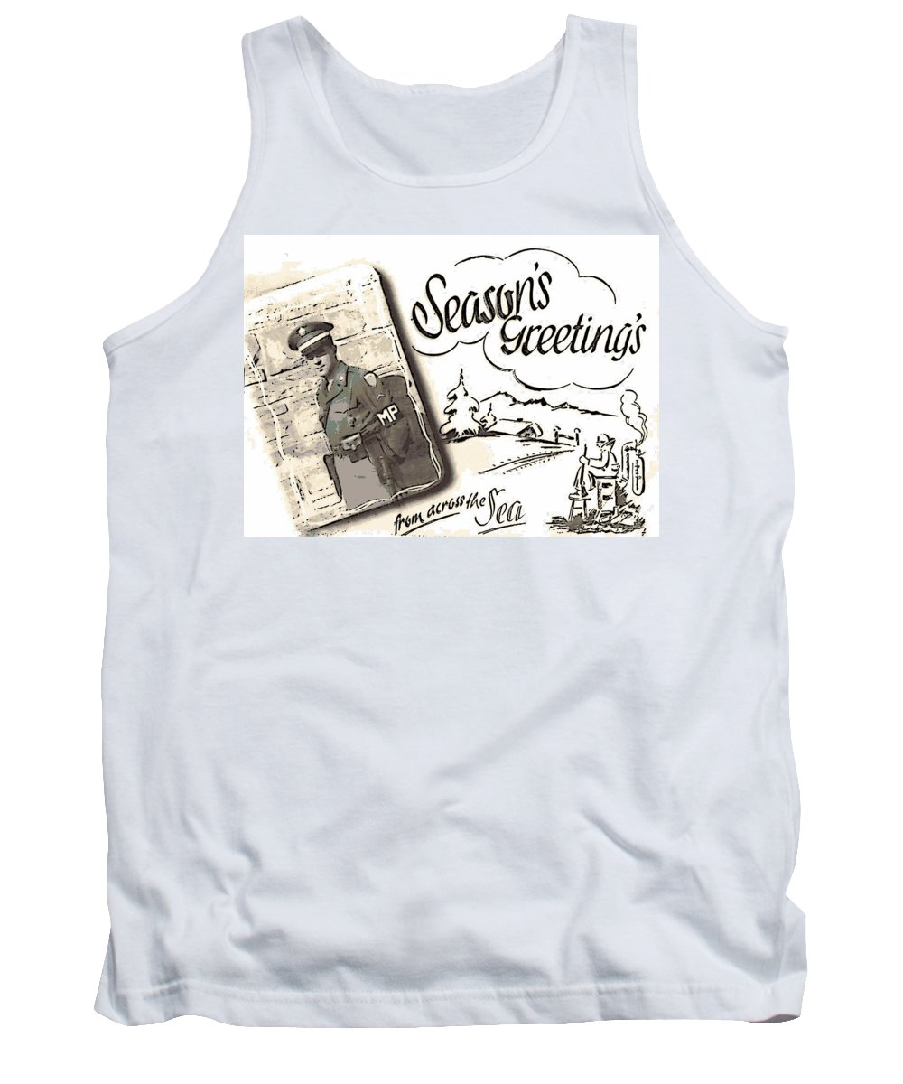 Season's Greeting Tank Top featuring the photograph Postcard From War by George Pedro