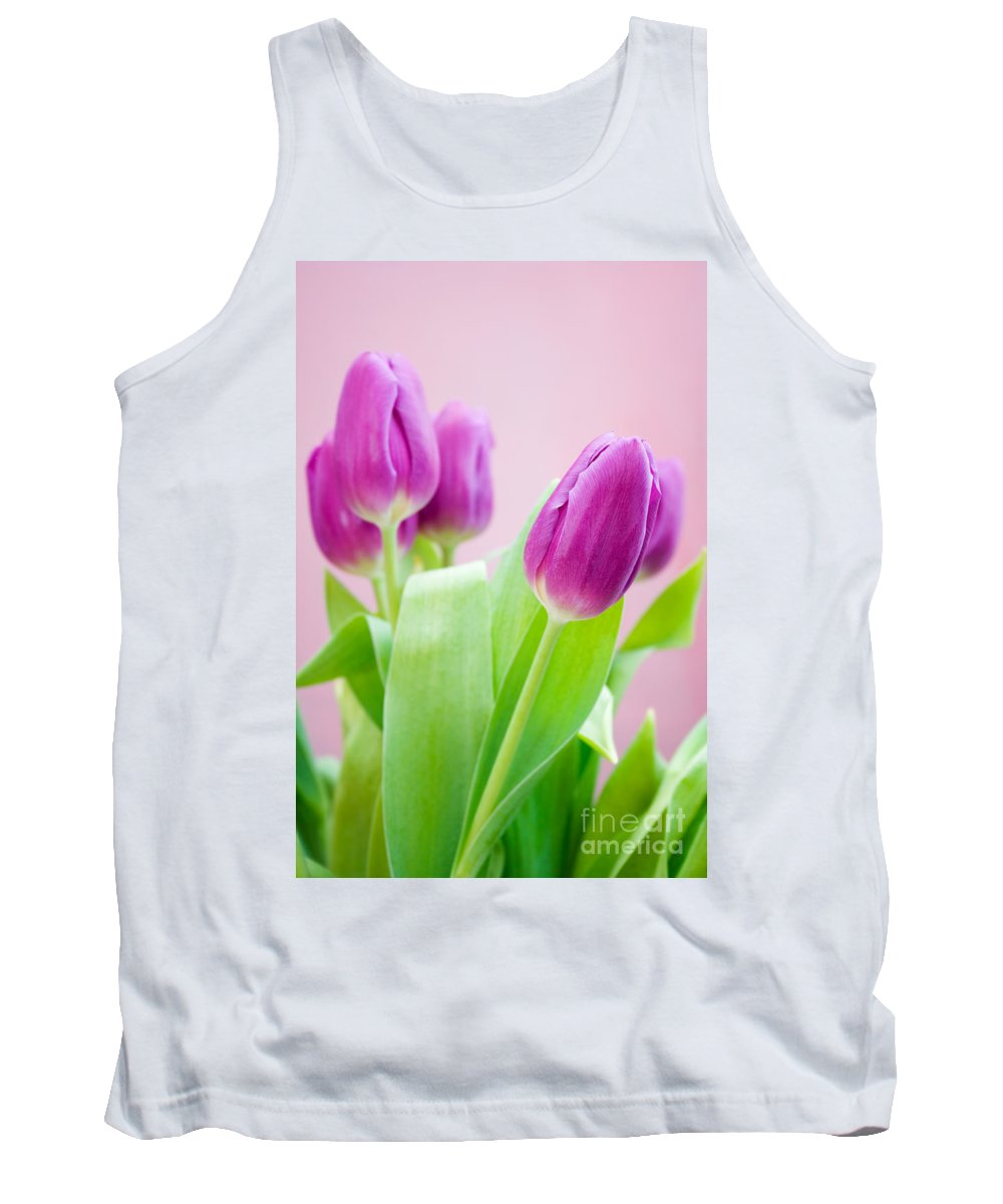 Tulip Tank Top featuring the photograph Purple Tulips by Kati Finell