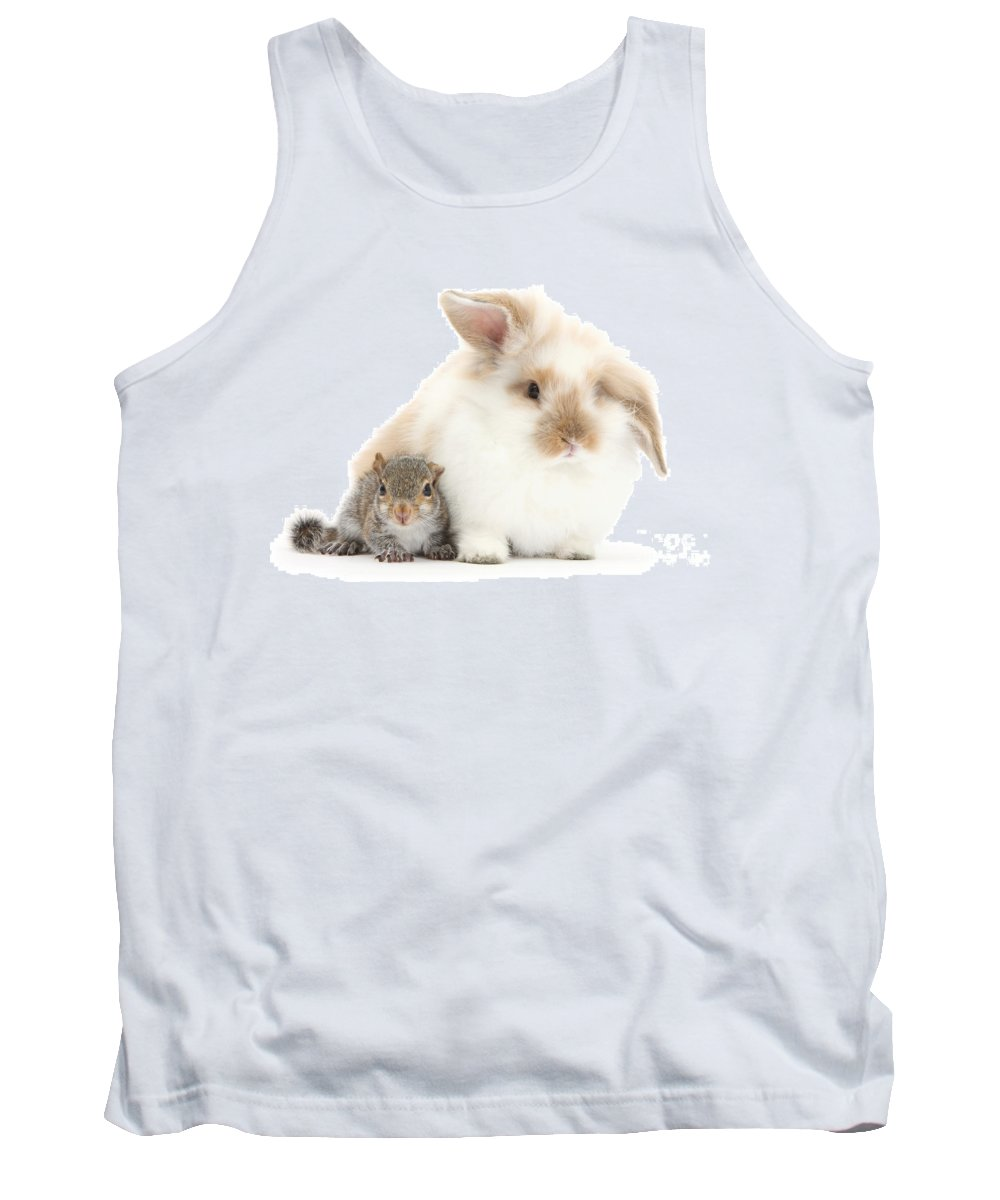 Nature Tank Top featuring the photograph Rabbit And Squirrel by Mark Taylor
