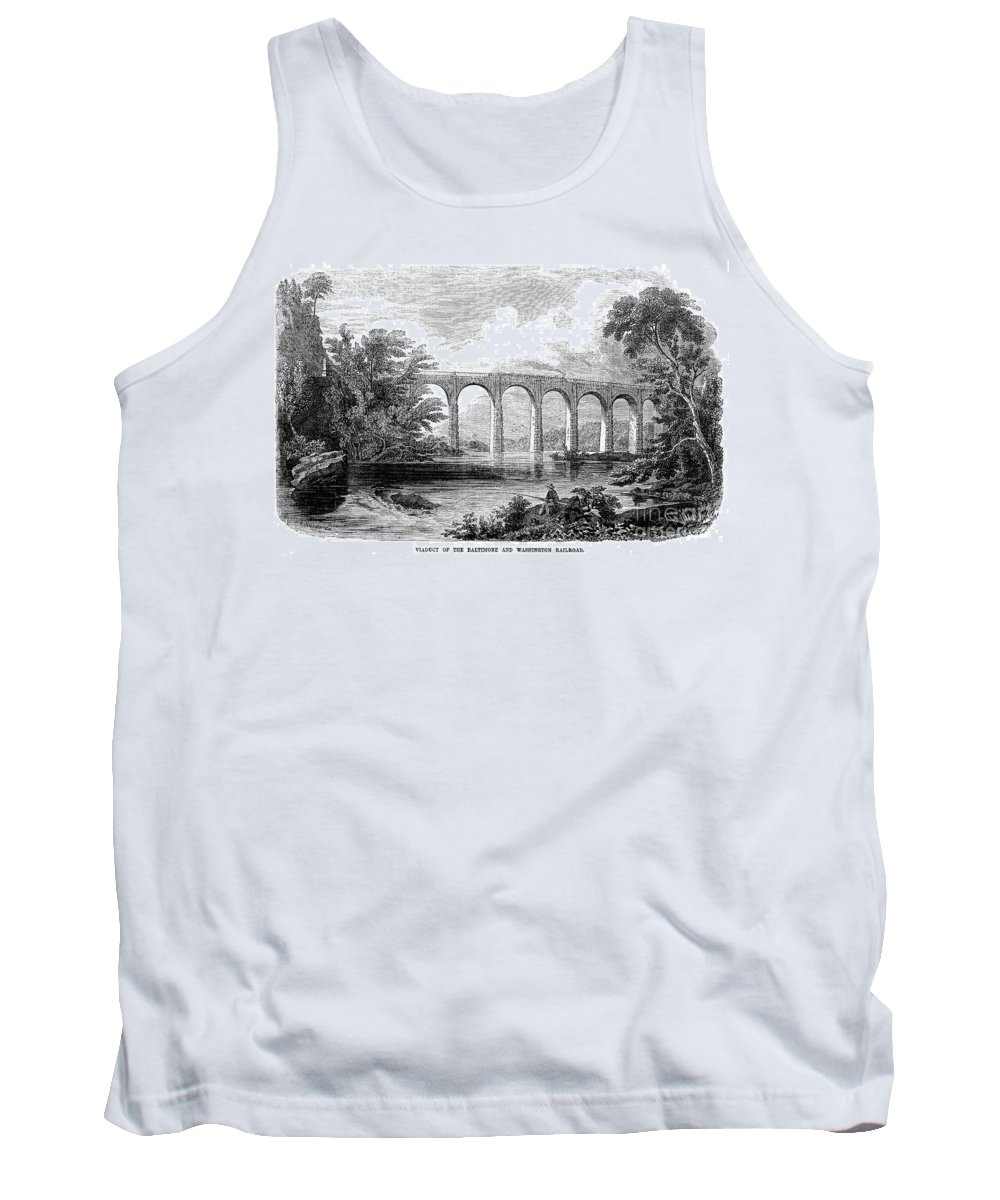 1853 Tank Top featuring the photograph Railroad Bridge, C1853 by Granger